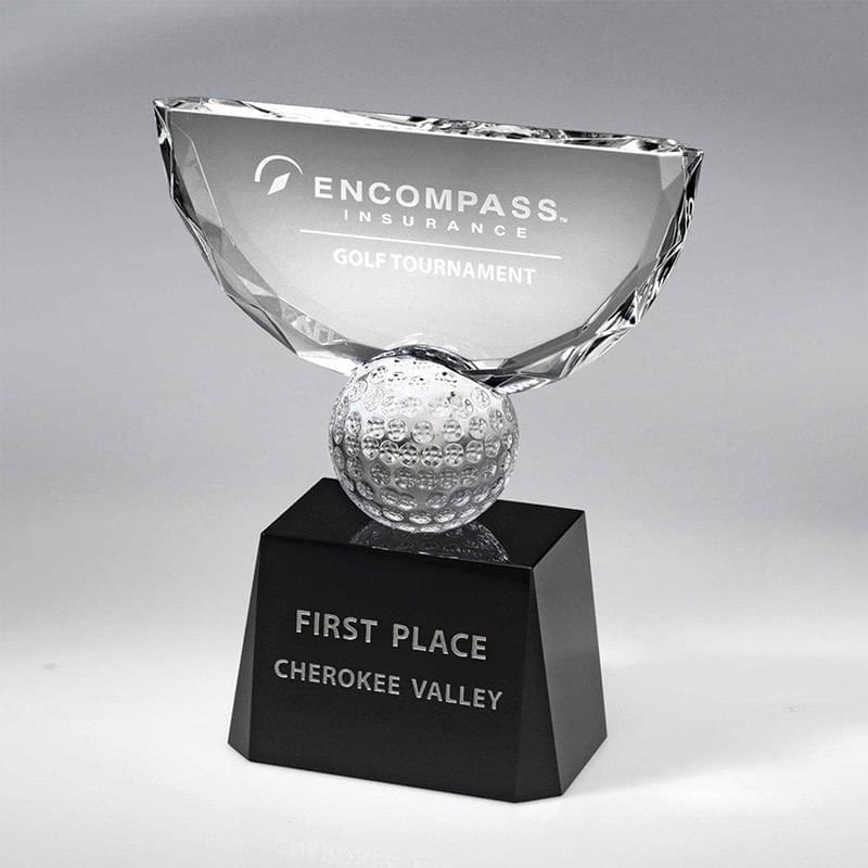 Crowned Golf Trophy on Black Base (Includes Sandblast in 2 Locations and Silver Color-Fill on Base)