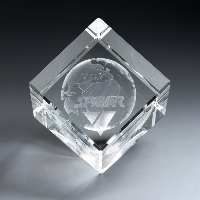 3D Etched Crystal Diamond Cube (xlrg)
