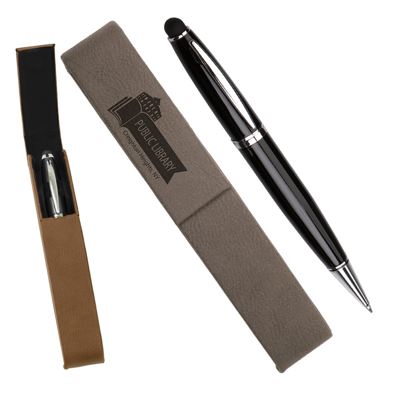 Leatherette Pen Case With 1 Blank Pen With Stylus