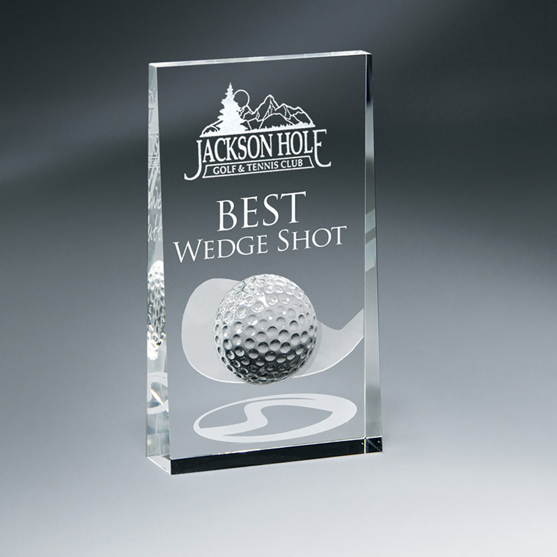 Crystal Wedge w/ Golf Ball and Club Design