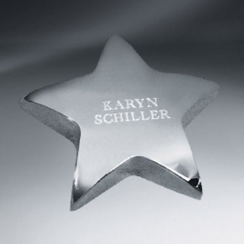 Silver Tone Star Paperweight