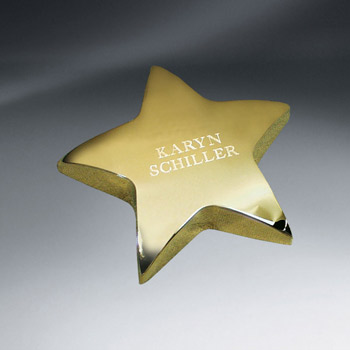 Gold Tone Star Paperweight