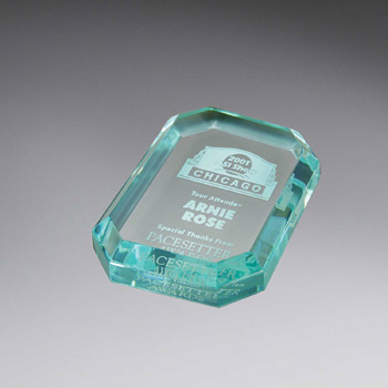 Beveled Octagon Lucite Paperweight