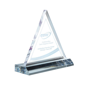 Triangle Award On Clear Base (med)