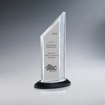 Brushed Silver Aluminum Slant Top Award