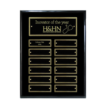 12-Plate Ebony Piano Finish Plaque - Gold