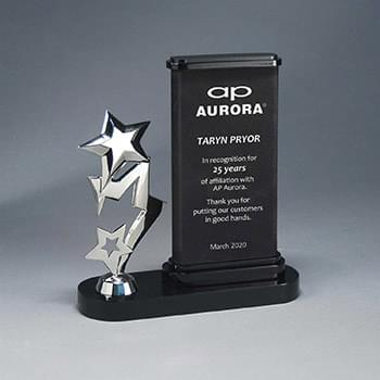 Black/Silver Leatherette Obelisk Award with Silver Metal Star Figure