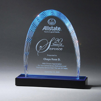 Aqua Wave Arch Award on Ebony Lucite Base