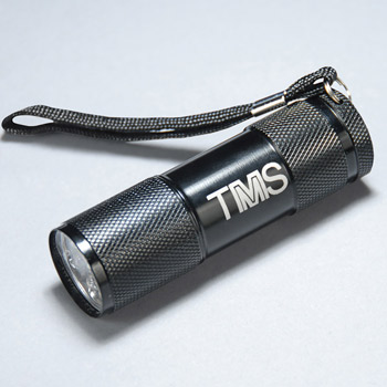 Black 9 Led Flashlight With Strap