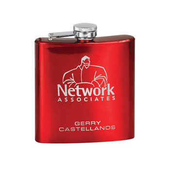 6 oz. Glossy Red Stainless Steel Lasered Flask