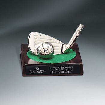Bright Silver Golf Club Putter and Ball Award