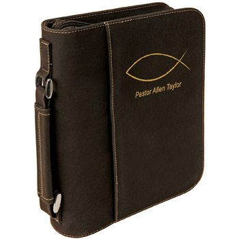 Leatherette Book/Bible Cover W/Handle & Zipper