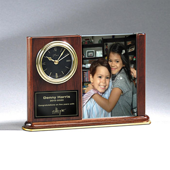 Walnut Piano Photo Holder and Clock