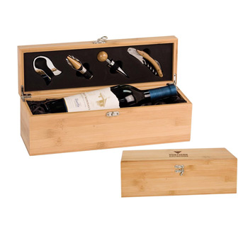 Bamboo Wine Presentation Box with Tools