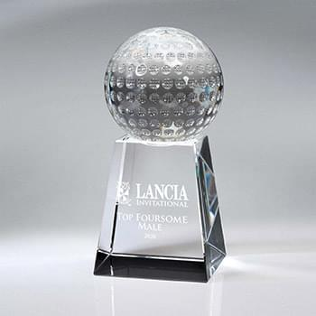 Optic Crystal Golf Ball on Tall Base (Unattached)