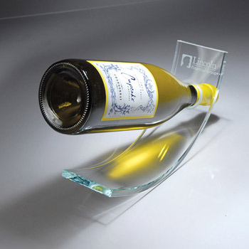 Curved Starphire Glass Wine Bottle Stand