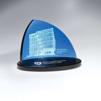 Blue Crescent Glass on Black Oval Glass Base - Large(Includes Color-Fill in Both Areas)