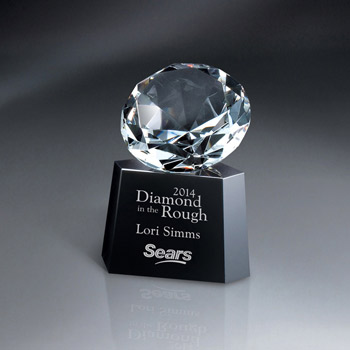 Optic Crystal Diamond On Black Glass Base
