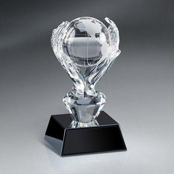 Crystal Globe Award On Base w/ Plate