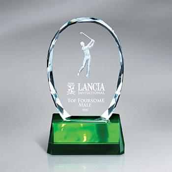 Crystal Oval with Golfer on Green Base