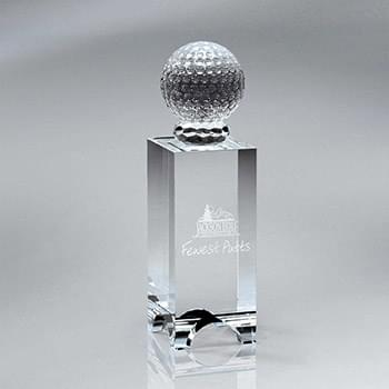 Crystal Golf Ball on Arched-Bottom Crystal Block