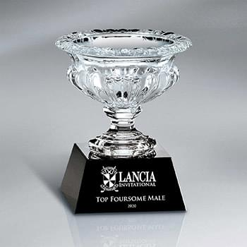 Crystal Vase on Black Base (Includes Sandblast and Silver Color-Fill on Base)