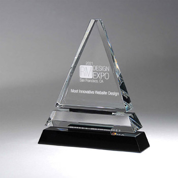 Clear Optic Crystal Tiered Pyramid on Black Base - Small