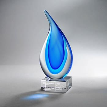 Light & Dark Blue Art Glass on Clear Base, Med