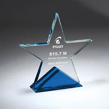 Clear Star with Blue Triangle Base, Large