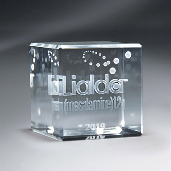 3D Etched Crystal Cube (med)