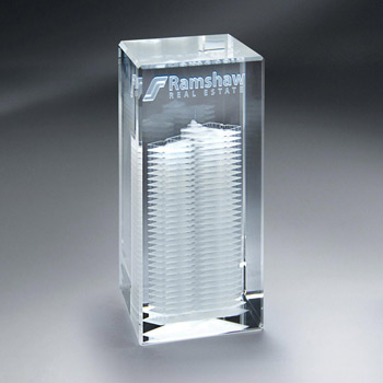 Crystal 3D Etched Crystal Tower (sml)