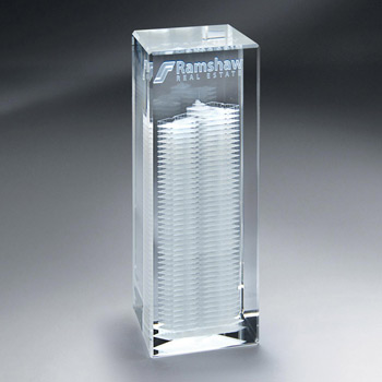 Crystal 3D Etched Crystal Tower (med)