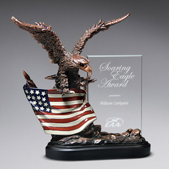 Highflying Bronze Eagle w/ Flag
