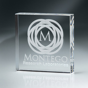 Lucite Square Block Paperweight