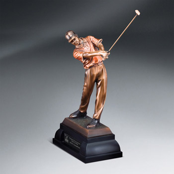 Swinging Male Golfer w/ Plate (lrg)