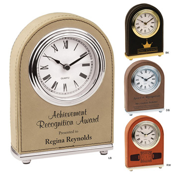 Leatherette Dome Top Clock
