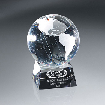 Optic Crystal Globe On Base (lrg)