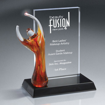 Art Glass Figure On Billboard Style Award