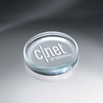 Crystal Tablets Round Glass Paperweight