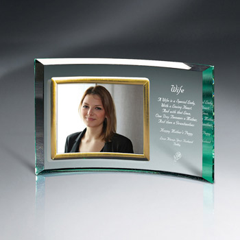 "Crescents Jade Glass With 7"" X 5"" Frame"