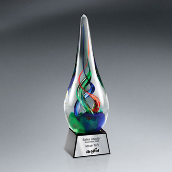 Art Glass Award On Glass Base w/ Plate