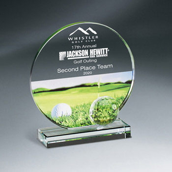 Golf Imprint Glass Circle On Base (lrg)