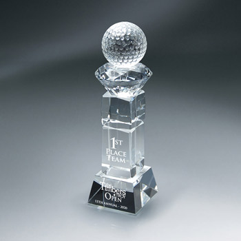 Crystal Golf Ball and Diamond On Pillar (sml)